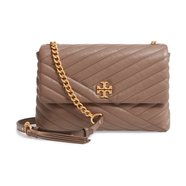 Tory Burch kira chevron quilted leather shoulder bag in brown