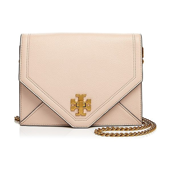 Tory Burch Kira Leather Crossbody in light oak/gold