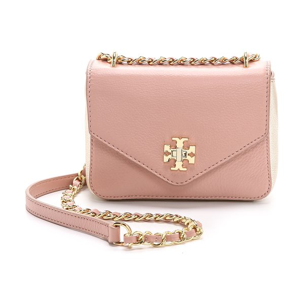 Tory Burch Kira mini chain bag in indian rose/champagne gold - Metallic trim brings a hint of glamour to this petite...