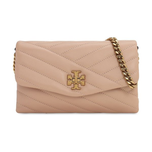 Tory Burch Kira quilted leather chain wallet bag in davon sand