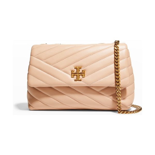 Tory Burch Kira Small Convertible Chevron Quilted Shoulder Bag in neutral pattern