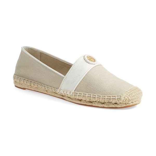 Tory Burch lacey espadrille flat in khaki/ ivory - A leather-wrapped logo medallion graces the toe of a...
