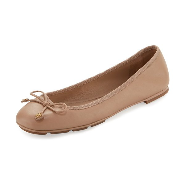"Tory Burch Laila Driver Ballerina Flat in beige - Tory Burch smooth leather ballerina flat. 0.3"" flat..."