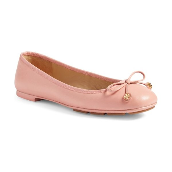 Tory Burch laila driver ballet flat in retro pink - A delicate ribbon featuring gleaming logo medallions...