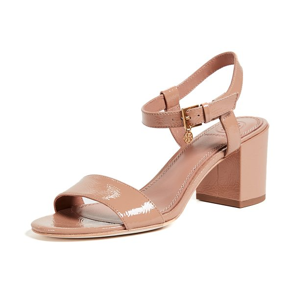 Tory Burch laurel 65mm ankle strap sandals in makeup - Leather: Sheepskin Crinkled patent leather Tory Burch...