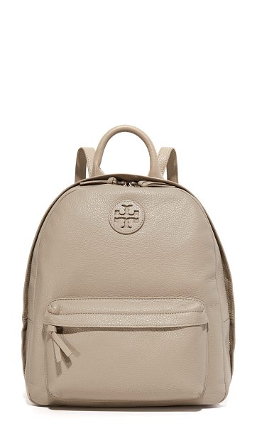 Tory Burch leather backpack in french gray - Pebbled leather adds a sophisticated feel to this roomy...