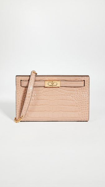 Tory Burch lee radziwill embossed shoulder bag in devon sand