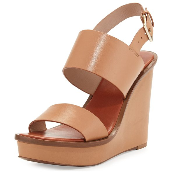 "Tory Burch Lexington Leather Wedge Sandal in natural blush - Tory Burch leather sandal. 4.5"" covered wedge heel; 1""..."