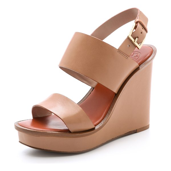 Tory Burch Lexington wedge sandals in natural blush - A covered wedge and platform bring height to these...
