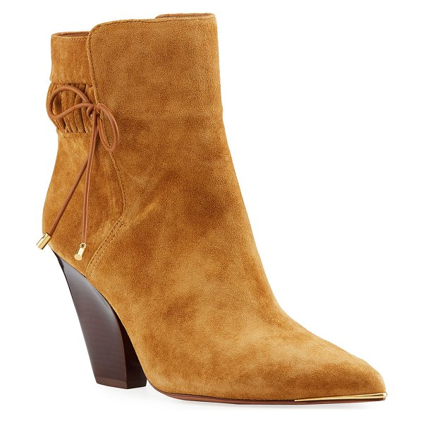 Tory Burch Lila Suede Bow Scrunch Booties in brown