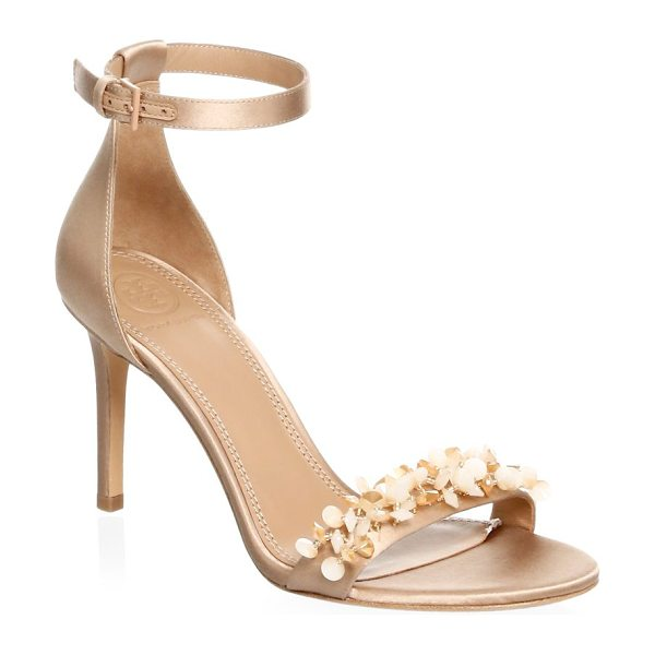 TORY BURCH logan embellished floral sandals in rose natural - Stylish and chic sandals with ankle strap closure and...