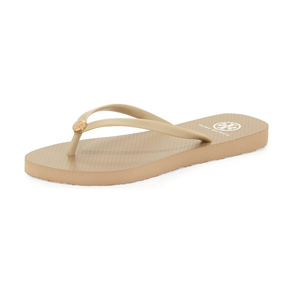 Tory Burch Logo Rubber Flip-Flop in khaki/khaki - Classic, water-ready rubber flip-flop with signature...