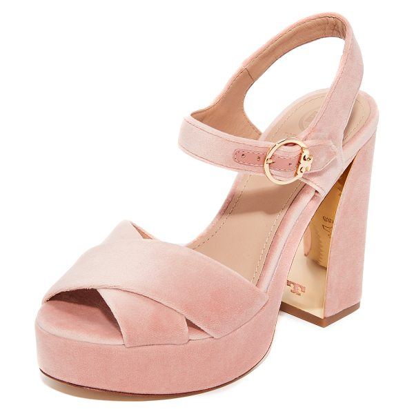 Tory Burch loretta 115mm platform sandals in ballet pink - Retro-inspired Tory Burch sandals with an inset metallic...