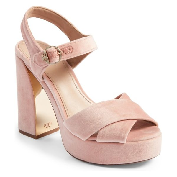Tory Burch loretta platform sandal in ballet pink - Crossover straps and a wrapped platform refine a lofty...