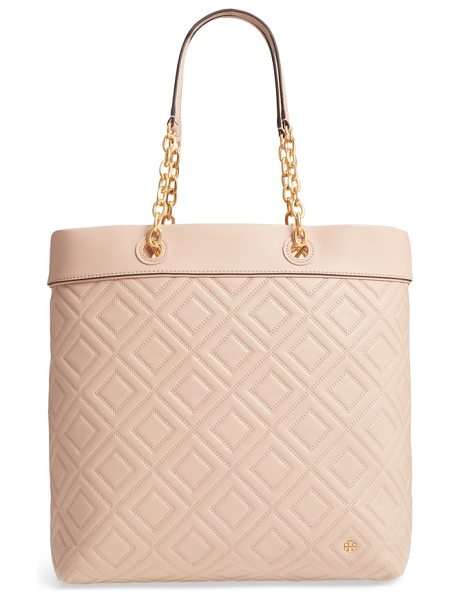 Tory Burch louisa lambskin leather tote in new mink - This roomy lambskin tote is given dimension by exquisite...