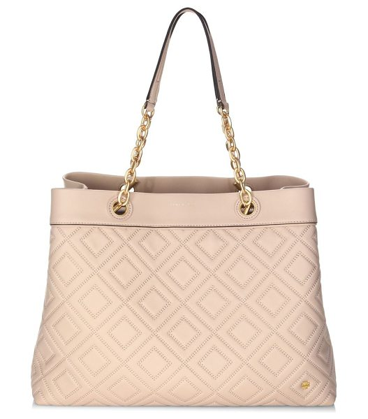 Tory Burch louisa leather tote in new mink - Elegant leather tote featuring a quilted design. Double...
