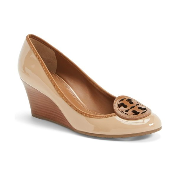 Tory Burch louisa wedge pump in tory beige/ royal tan - Set atop a stacked wedge, the Louisa pump features a...
