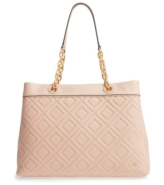 Tory Burch lousia lambskin leather tote in new mink - Modern diamond quilting and a modest logo refine a...