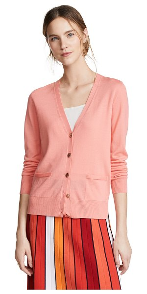 Tory Burch madeline cardigan in sunrise coral - Fabric: Fine knit Cardigan style Waist-length style Long...
