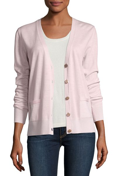 "Tory Burch Madeline Relaxed V-Neck Merino Cardigan in pink - Madeline"" cardigan in extrafine merino wool by Tory..."