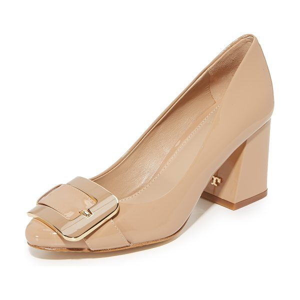 Tory Burch maria 75mm pumps in tory beige - An enamel buckle strap adds a sophisticated touch to...
