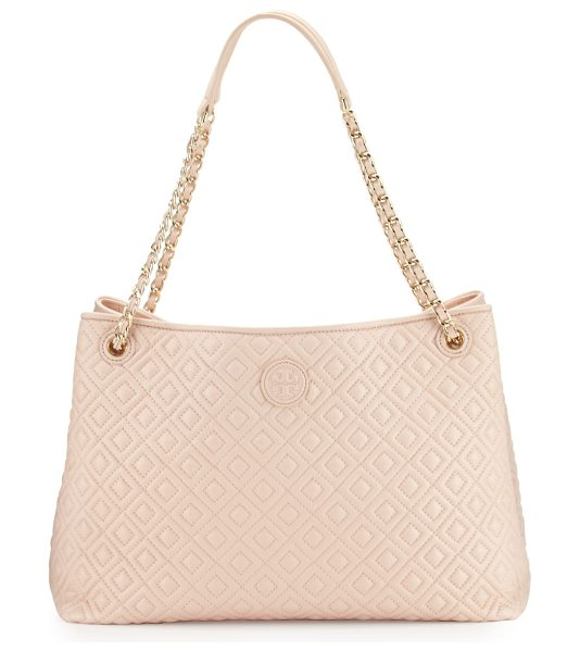 Tory Burch Marion Chain-Strap Shoulder Slouch Bag in pale apricot - Tory Burch quilted lambskin leather shoulder bag. Woven...