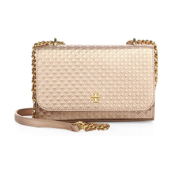 Tory Burch marion embossed metallic leather chain crossbody bag in rose gold - Diamond-embossed leather crossbody with metallic sheen....