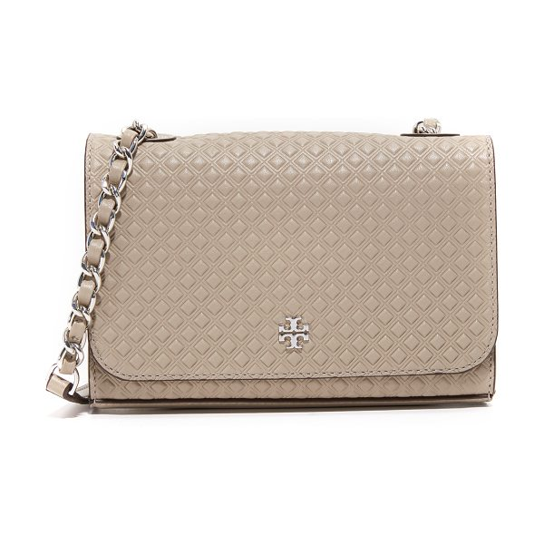 TORY BURCH marion embossed shrunken shoulder bag - An embossed diamond pattern lends rich texture to this...