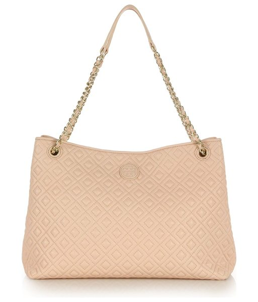 Tory Burch Marion quilted leather tote in paleapricot - Rommy leather tote designed with diamond-quilted...