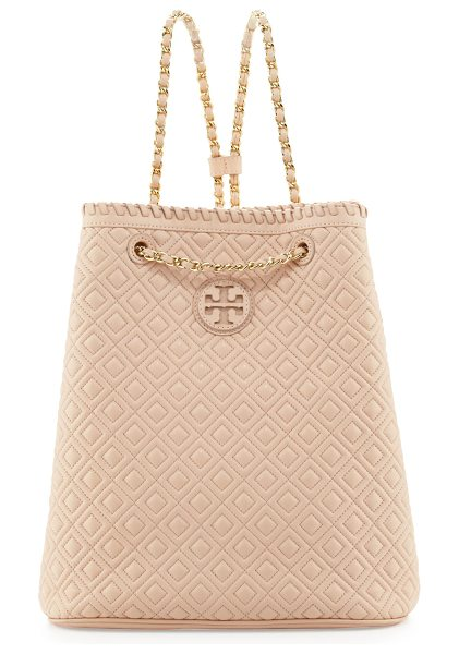 Tory Burch Marion quilted leather backpack in pink - Smooth quilted leather. Light golden hardware. Double-T...