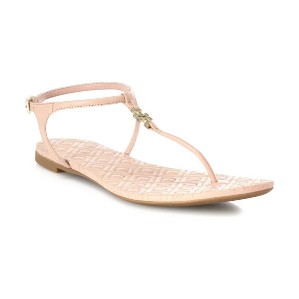 TORY BURCH marion quilted leather t-strap sandals - Logo-accented T-strap tops diamond-quilted footbed....