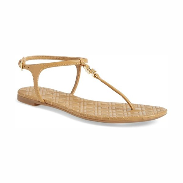 Tory Burch 'marion' quilted sandal in sand leather - A quilted medallion and footbed underscore the refined...
