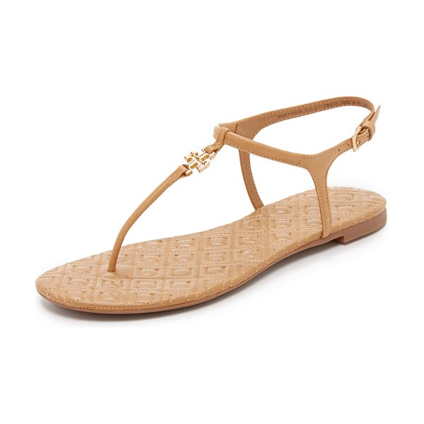 Tory Burch marion quilted sandals in sand - A polished logo accents these T strap Tory Burch...