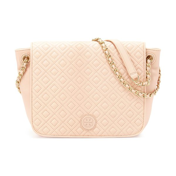 Tory Burch Marion Quilted Small Flap Shoulder Bag in pale apricot - Tory Burch quilted leather shoulder bag. Chain and...