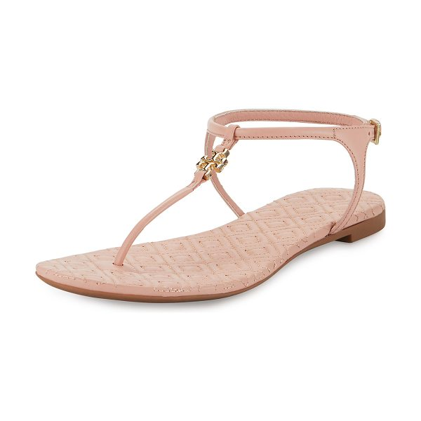 "Tory Burch Marion quilted t-strap sandal in clay pink - Tory Burch leather sandal. 0. 3"" flat heel. T-strap vamp..."