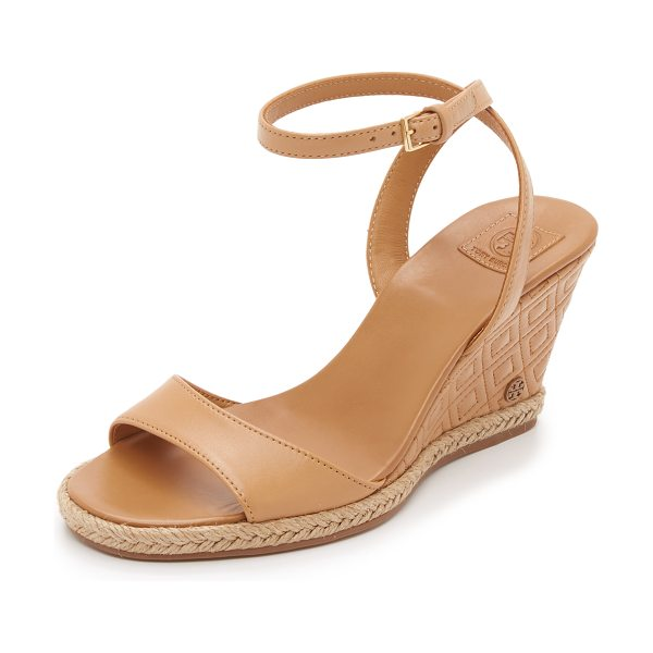 TORY BURCH Marion quilted wedge sandals - A quilted wedge updates these smooth leather Tory Burch...