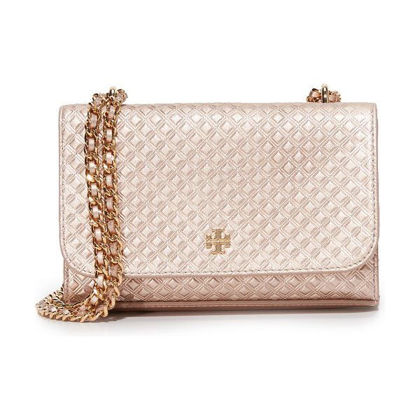 Tory Burch Tory Burch Marion Shrunken Shoulder Bag in rose gold - Embossed metallic leather composes this petite Tory...