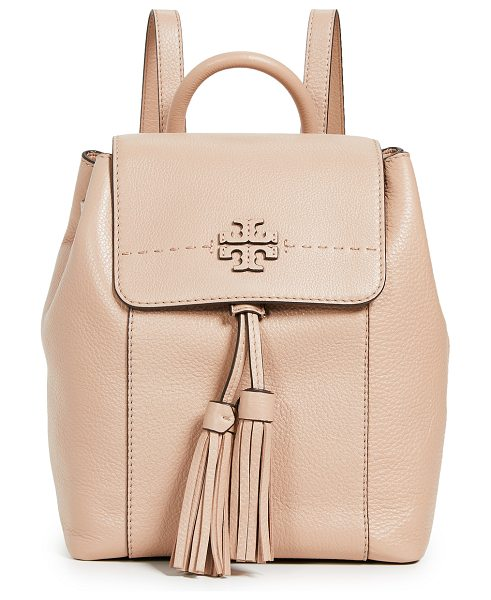 Tory Burch mcgraw backpack in devon sand - Leather: Cowhide Magnetic closure at front Drawstring at...