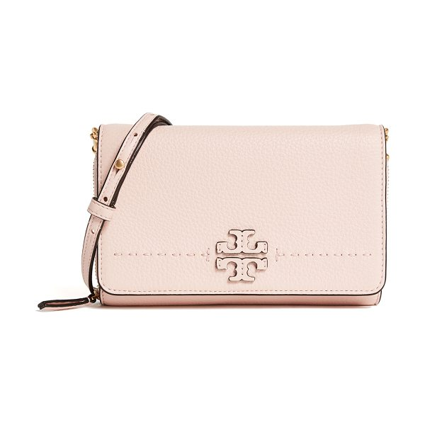 Tory Burch mcgraw flat wallet cross body bag in pink quartz
