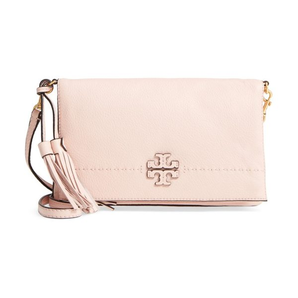 TORY BURCH mcgraw leather crossbody bag in pink quartz - A stacked-T logo applique brands the flap of a slightly...