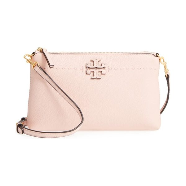 Tory Burch mcgraw leather crossbody pouch in pink quartz