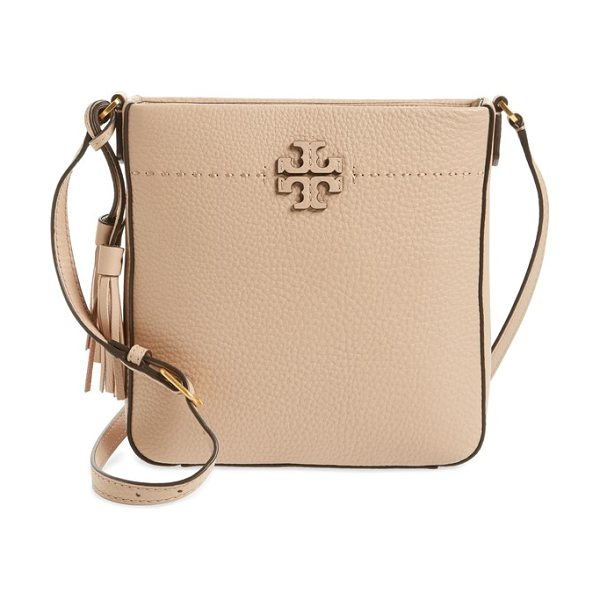 Tory Burch mcgraw leather crossbody tote in devon sand - A pebbled-leather tote branded by stacked-T logo...