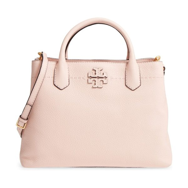 Tory Burch mcgraw triple compartment satchel in pink quartz - Divided interior compartments with a center zip-pocket...