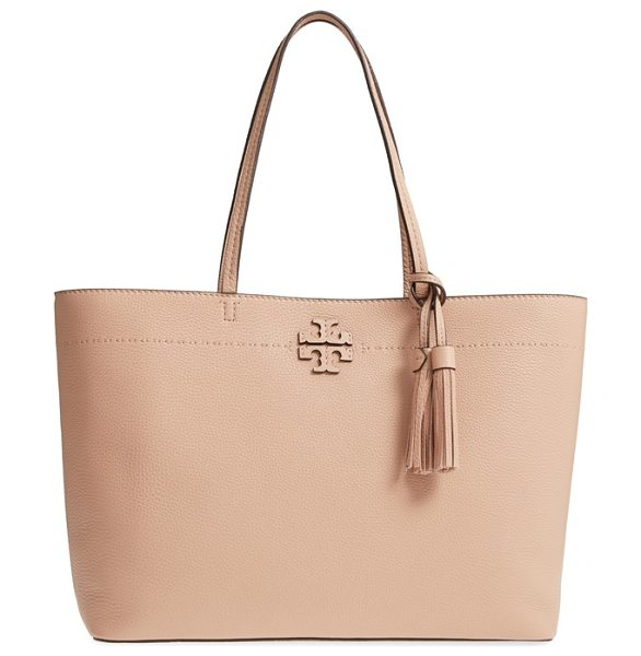 Tory Burch mcgraw leather laptop tote in pink - From its elongated handles to the swingy tassel bag...