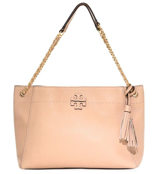 Tory Burch mcgraw leather tote in devon sand - Quilted leather tote bag with logo accent. Double chain...