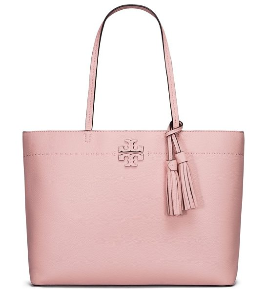 Tory Burch mcgraw leather tote in pink quartz - From its elongated handles to the swingy tassel bag...