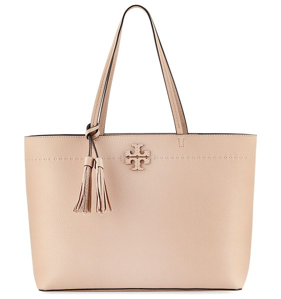Tory Burch McGraw Pebbled Leather Tote Bag in devon sand - Tory Burch pebbled leather tote bag. Thin shoulder...