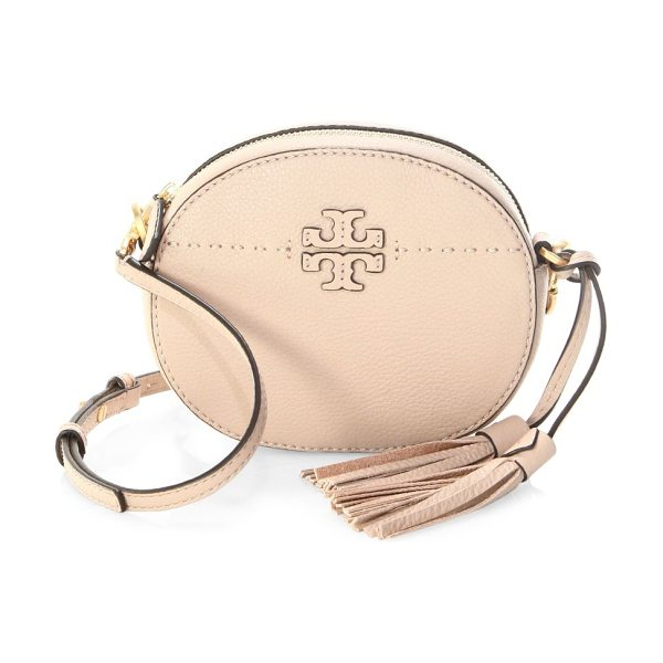 TORY BURCH mcgraw round leather crossbody bag - Chic leather crossbody bag with logo detailing. Removable,...