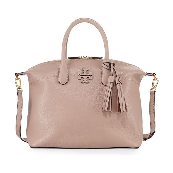 Tory Burch McGraw Slouchy Satchel Bag in sand - Tory Burch pebbled leather satchel bag with golden...