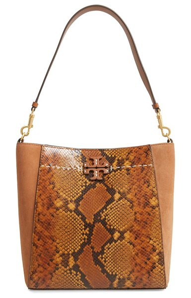 Tory Burch mcgraw snake embossed leather hobo in brown